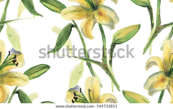 Seamless pattern with watercolor lilies flowers on white background.