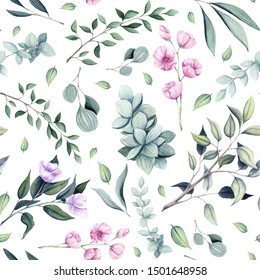 Seamless Pattern of Watercolor Little Pink Flowers, Light Green Leaves and Tree Branches