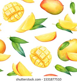 Seamless pattern with watercolor mango fruits and green leaves on white background