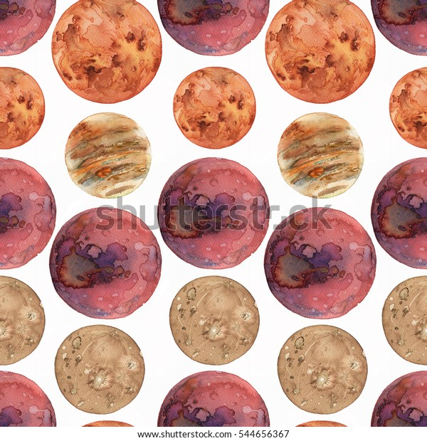 Seamless pattern with watercolor Mars, Venus, Mercury and Jupiter planets.
