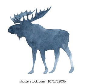 Seamless pattern with watercolor Moose.