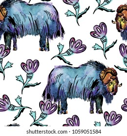 Seamless pattern with watercolor musk ox and flowers.
