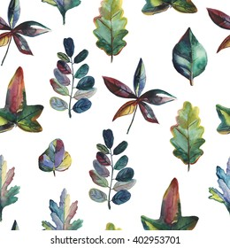 Seamless pattern with watercolor oak, birch, maple, chestnut leaves. Colorful hand drawn illustration for your design: print, textile, postcard, background.