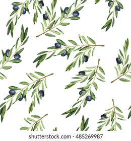 Seamless pattern with watercolor olive branches. Hand drawn illustration.