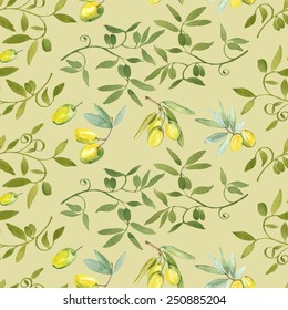Seamless pattern with watercolor olive oil elements.