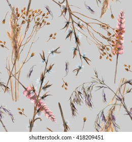Seamless pattern with watercolor ornamental dry grass on grey background. Winter plants wallpaper
