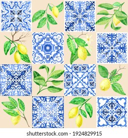 Seamless pattern of watercolor painted blue mosaic tiles with hand drawn lemon fruits and leaves, floral ornaments in Sicilia Mediterranean majolica ceramic painting style.Wallpaper décor, batik print