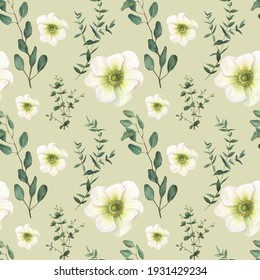 Seamless pattern of watercolor painted eucalyptus branches. Pattern for creating fabrics, wallpapers, gift wrapping in eco style.