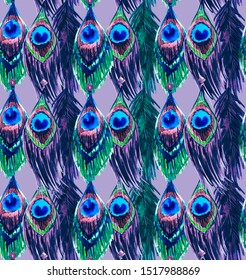 Seamless pattern with watercolor peacock feathers. Exotic Glamorous Texture
