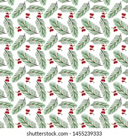 Seamless pattern with watercolor pine branches and red berries. Hand painted christmas time design with floral elements on white background, perfect for fabric, textile, scrapbooking, webshop backdrop