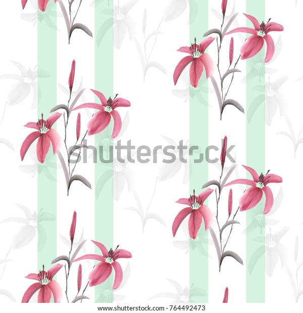 Seamless pattern watercolor of pink and gray flowers of lily on a white background with green vertical stripes