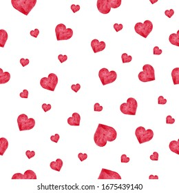 Seamless pattern with watercolor pink hearts on white background. Perfect for design Valentine's day holiday card, textile fabric print, wrapping, wallpapers, etc.  Love theme art.