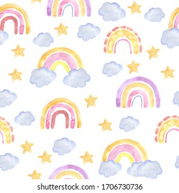 Seamless pattern with watercolor rainbow in pastel colors and stars. Modern illustration on a white background. Design for children's textiles, decor for a children's room, children's decorations.