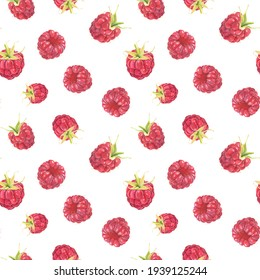 Seamless pattern with watercolor raspberries isolated on white background. Hand drawn watercolor illustration.