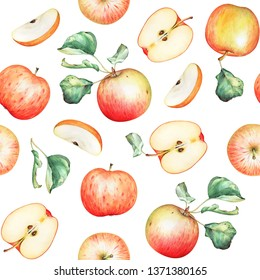 Seamless pattern with watercolor red apples and green leaves on white background