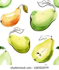 Seamless pattern with watercolor red and green pears isolated on white background