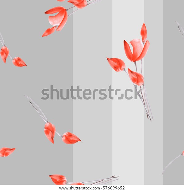 Seamless pattern watercolor of red tulips on a gray background with vertical stripes