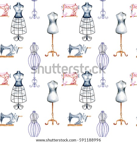 Seamless Pattern Watercolor Retro Mannequins Sewing Stock