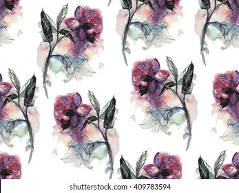Seamless pattern with watercolor rose or peony flower with black outline.