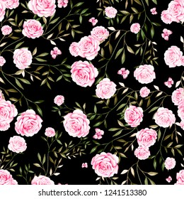 Seamless pattern with watercolor  roses flowers. Illustration
