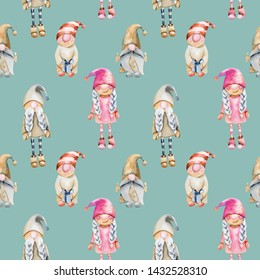 Seamless pattern of watercolor scandinavian trolls, Christmas gnomes, hand drawn on a blue background