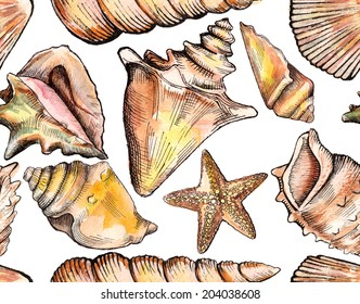 seamless pattern with watercolor seashells