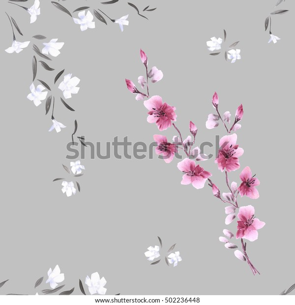 Seamless pattern watercolor small pink and white flowers on the light gray background.