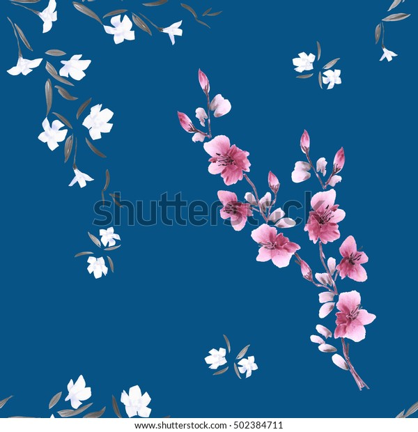 Seamless pattern watercolor small white and pink flowers on the deep blue background.