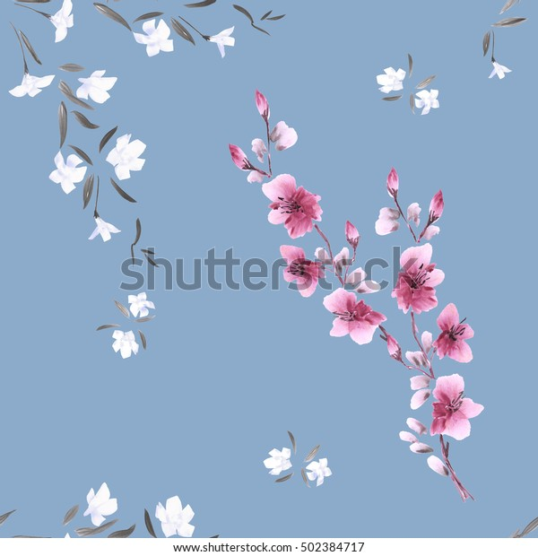 Seamless pattern watercolor small white and pink flowers on the blue background.