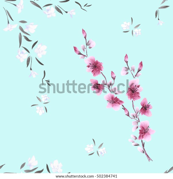 Seamless pattern watercolor small white and pink flowers on the light turquoise background.