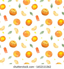 Seamless pattern with watercolor tangerines