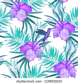Seamless pattern with watercolor tropical illustration. Hibiscus flower, palm leaves, hummingbird.