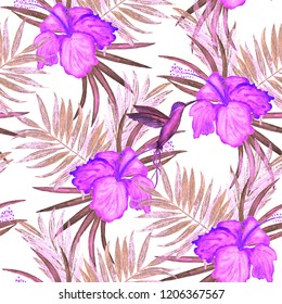 Seamless pattern with watercolor tropical illustration. Hibiscus flower, palm leaves. Hand drawn.