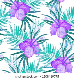Seamless pattern with watercolor tropical illustration. Hibiscus flower, palm leaves. Hand paint.