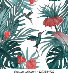 Seamless pattern with watercolor tropical illustration. Exotic flowers, leaves, hummingbirds. Hand paint.