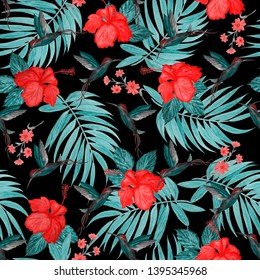 Seamless pattern with watercolor tropical illustration. Hibiscus flower, palm leaves, hummingbird. Hand paint.