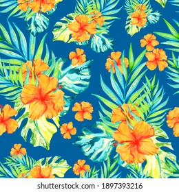 seamless pattern with watercolor tropical leaves and flowers. summer floral print on a blue background. Hawaiian hibiscus, coconut branches and monstera leaves.