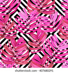 Seamless pattern with watercolor tropical plants. Beautiful pink leaves on black and white geometric background. Summer floral composition.