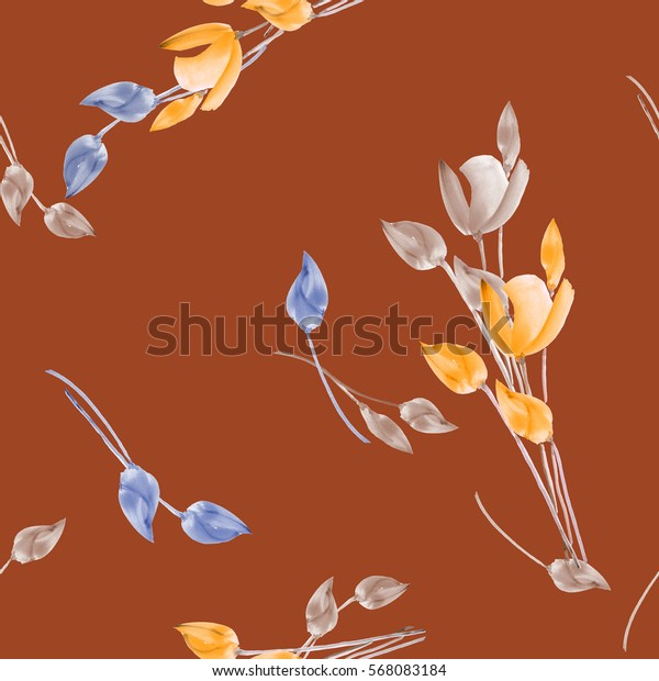 Seamless pattern of watercolor tulips with beige, yellow and blue flowers on a deep red background