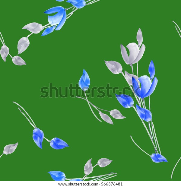 Seamless pattern of watercolor tulips with gray and blue flowers on a deep green background