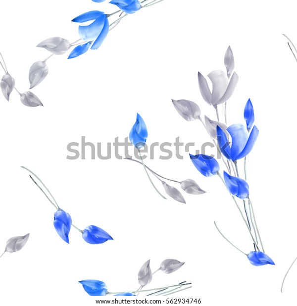 Seamless pattern of watercolor tulips with light gray and blue flowers on a white background