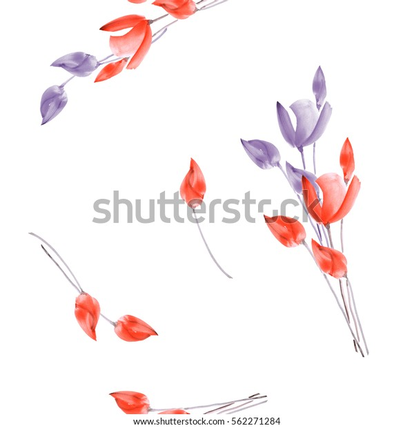 Seamless pattern of watercolor tulips with violet and red flowers on a white  background