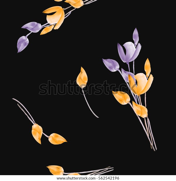 Seamless pattern of watercolor tulips with violet and yellow flowers on the black background