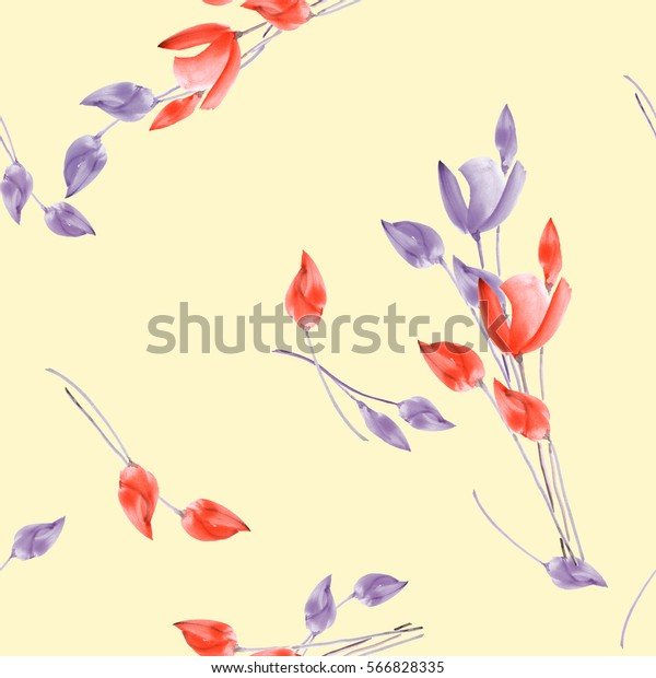 Seamless pattern of watercolor tulips with violet and red flowers on a light yellow background