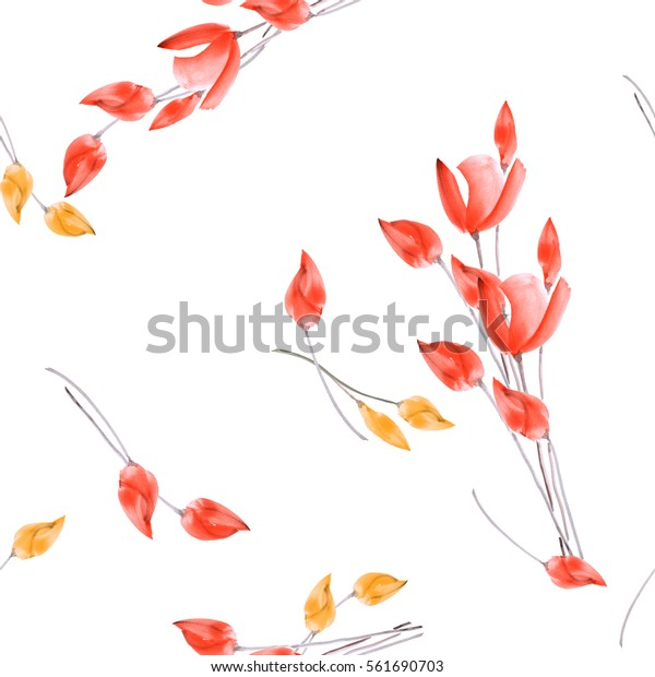Seamless pattern of watercolor tulips with yellow and red flowers on a white background