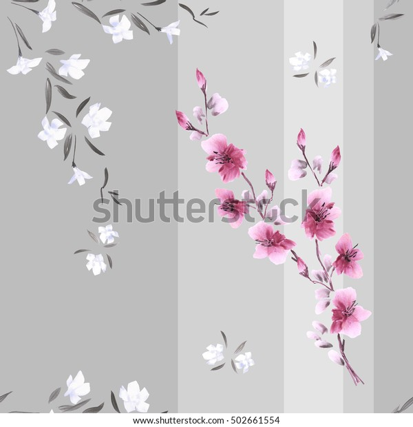 Seamless pattern watercolor of white and pink flowers on a gray background with vertical stripes.