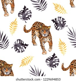 Seamless pattern with watercolor wild animals and inky leaves on white background