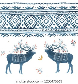 Seamless pattern with watercolor winter Scandinavian deer and national ornament in blue colors