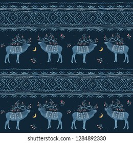 Seamless pattern with watercolor winter Scandinavian deer and national ornament in blue colors on a dark background
