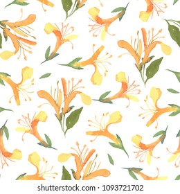 Seamless pattern of watercolor yellow honeysuckle flower isolate on white background. Flowers for wedding cards.
